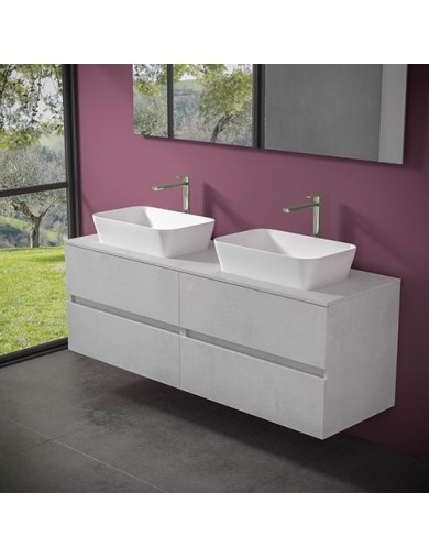 mobile evo54  cm160 2 lavabi fly56 hiden progettobagno finitura light