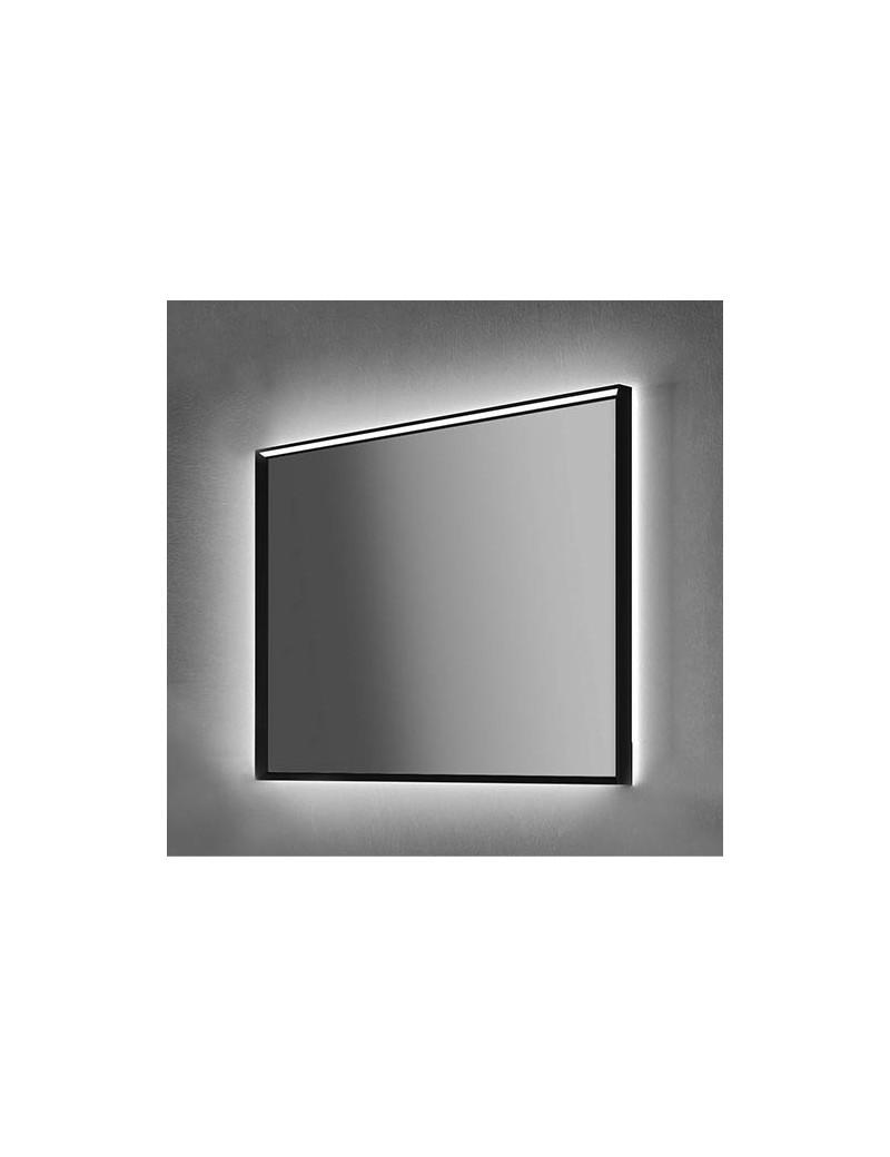specchio vintage con telaio nero e illuminazione led